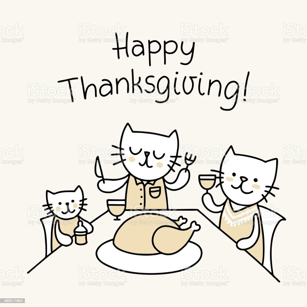 Thanksgiving Day Poster With Family Of Funny Cats Seated Around The Table And Eating Turkey
