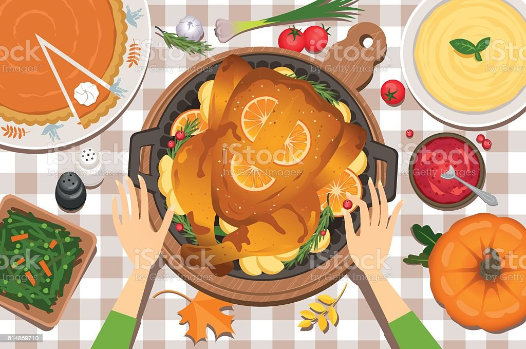 Thanksgiving day preparation vector art illustration
