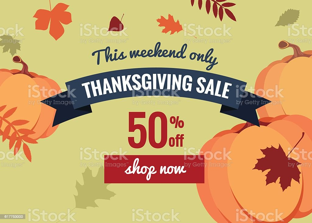 Thanksgiving day sale offer design template. vector art illustration