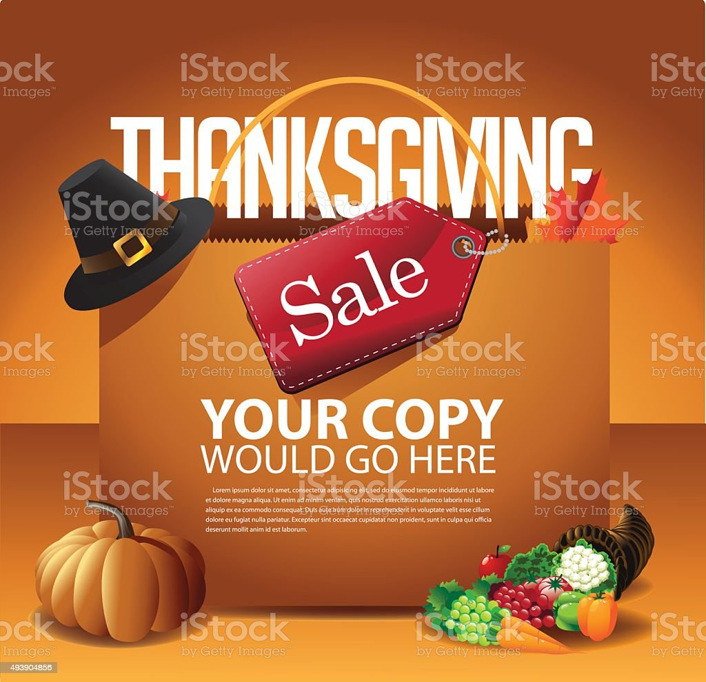 Thanksgiving Day Sale Shopping Bag Background vector art illustration