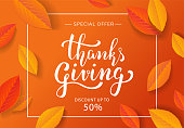 Thanksgiving day sale special offer poster design with beautiful hand-drawn lettering and leaves. Holiday banner template with calligraphy on orange background