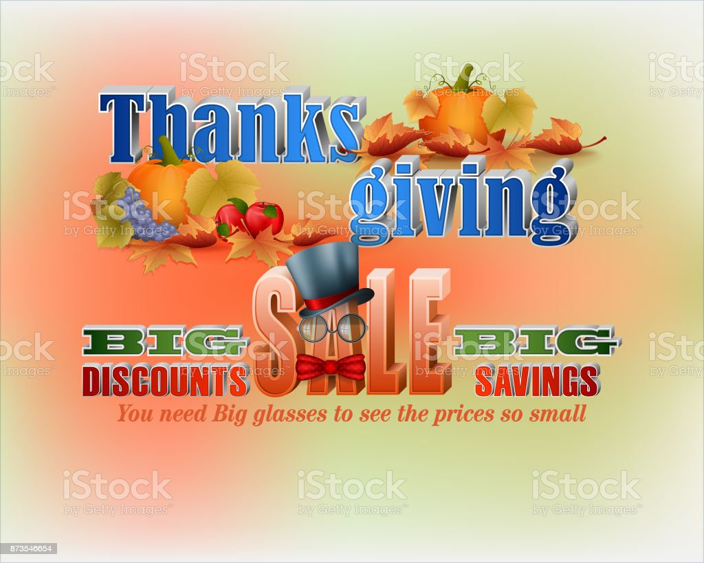 Thanksgiving day, sales vector art illustration
