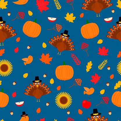Thanksgiving day seamless pattern. Cute cartoon seasonal elements.  Easy to edit vector template for greeting card, poster, banner, flyer, fabric, t-shirt