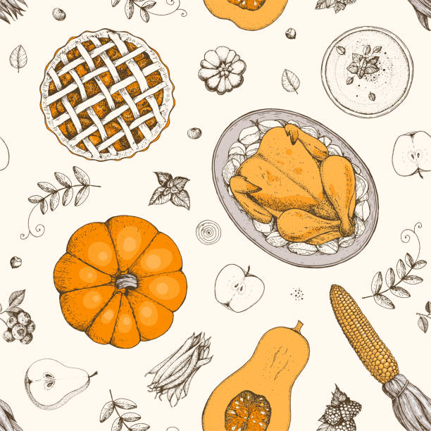thanksgiving day seamless pattern. hand drawn vector illustration. food hand drawn sketch. festive dinner with turkey. autumn food sketch. engraved image. - pumpkin pie stock illustrations