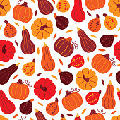 Thanksgiving Day seamless pattern with pumpkins and leaves on white background. Perfect for wallpaper and greeting cards