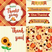 Thanksgiving Day Set of frame, ribbons, titles, pattern and decoration.