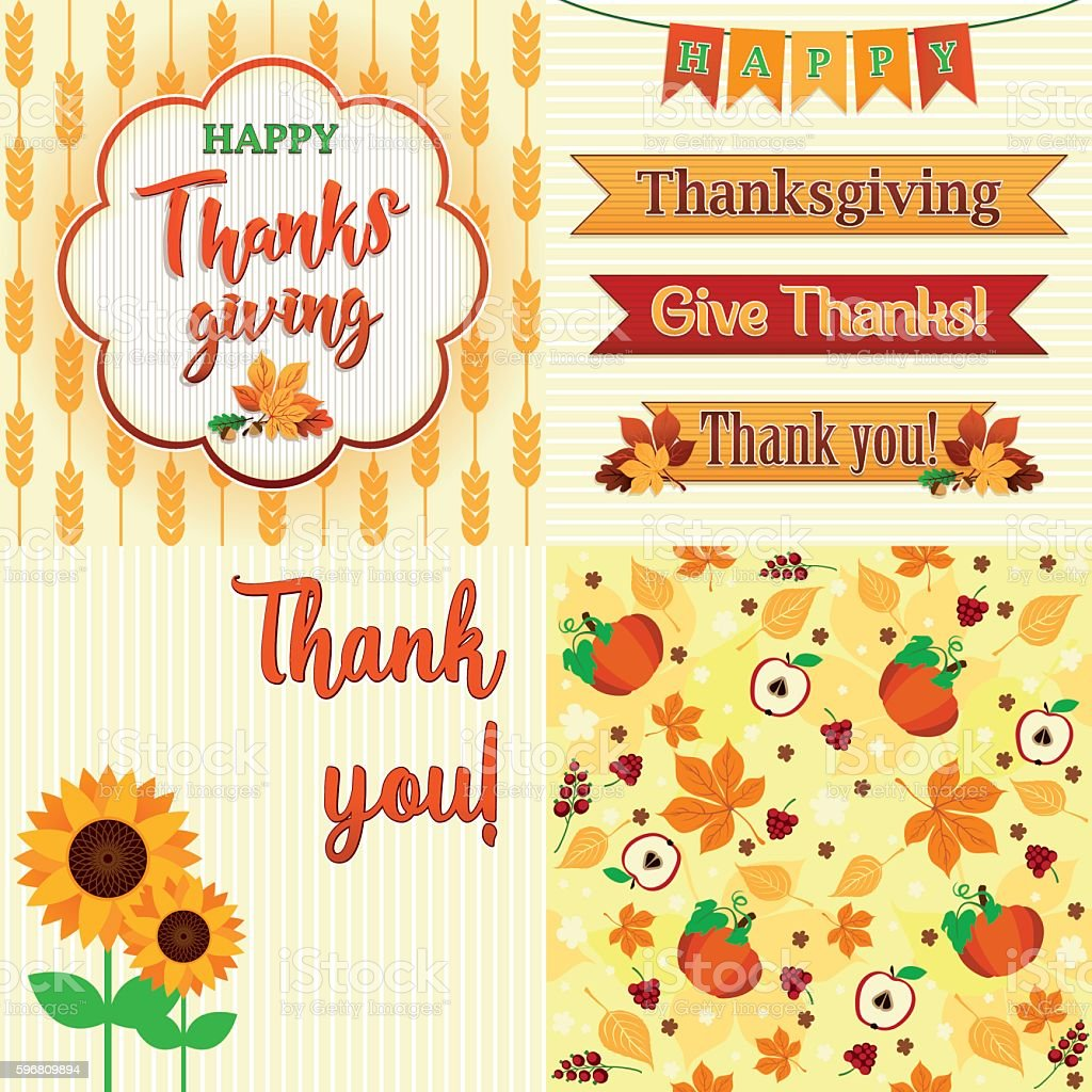 Thanksgiving Day Set of frame, ribbons, titles, pattern and decoration - ilustración de arte vectorial