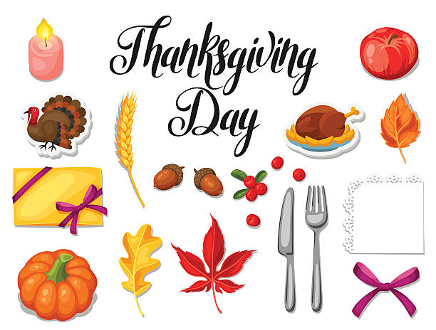 Thanksgiving Day set of object. Autumn and holiday items - Illustration vectorielle