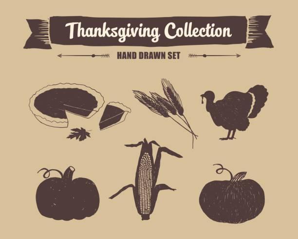 thanksgiving day set. - pumpkin pie stock illustrations