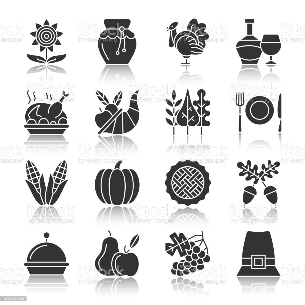 thanksgiving day silhouette icons with reflection stock vector art