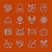 Thanksgiving day thin line icon set. Vector linear symbol pack. Outline sign without fill. Simple pictogram graphic collection. Logo, web design, infographic business, office, card, tag style concept