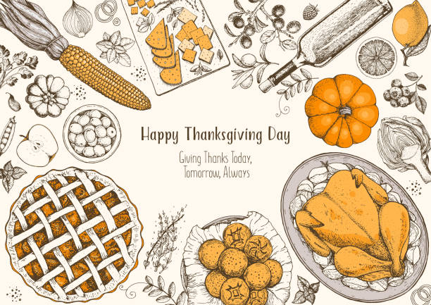 thanksgiving day top view vector illustration. food hand drawn sketch. festive dinner with turkey and potato, apple pie, vegetables, fruits and berries, cheese. autumn food sketch. engraved image. - pumpkin pie stock illustrations
