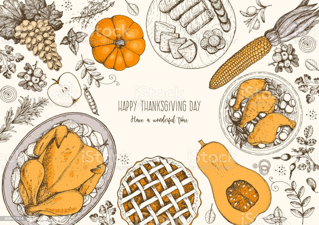 Thanksgiving day top view vector illustration. Food hand drawn sketch. Festive dinner with turkey and potato, apple pie, vegetables, fruits and berries. Autumn food sketch. Engraved image. vector art illustration