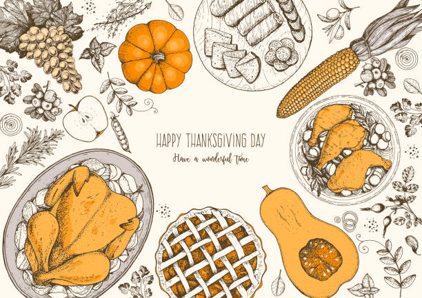 thanksgiving day top view vector illustration. food hand drawn sketch. festive dinner with turkey and potato, apple pie, vegetables, fruits and berries. autumn food sketch. engraved image. - thanksgiving turkey stock illustrations