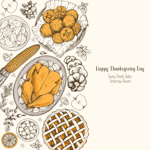 thanksgiving day top view vector illustration. food hand drawn sketch. festive dinner with turkey and potato. autumn food sketch. engraved image. - pumpkin pie stock illustrations