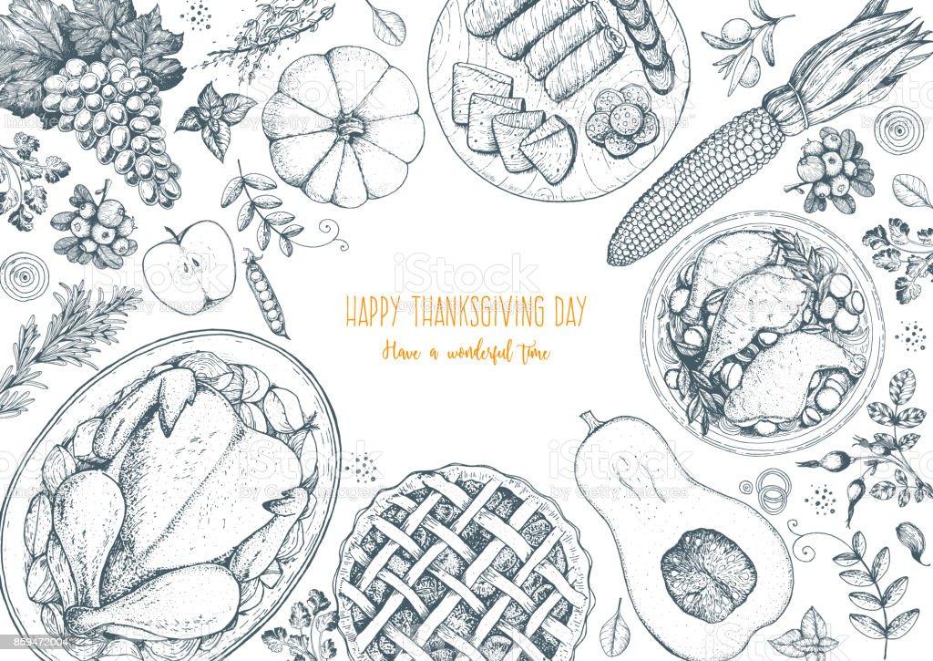 Ilustración de vector de día la vista superior. Boceto dibujado de la mano de alimentos. Cena festiva con pavo y patata, pastel de manzana, verduras, frutas y bayas. Esquema de alimentación otoño. Imagen grabada. - ilustración de arte vectorial