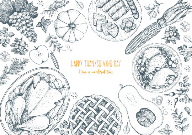 thanksgiving day top view vector illustration. food hand drawn sketch. festive dinner with turkey and potato, apple pie, vegetables, fruits and berries. autumn food sketch. engraved image. - pumpkin pie stock illustrations
