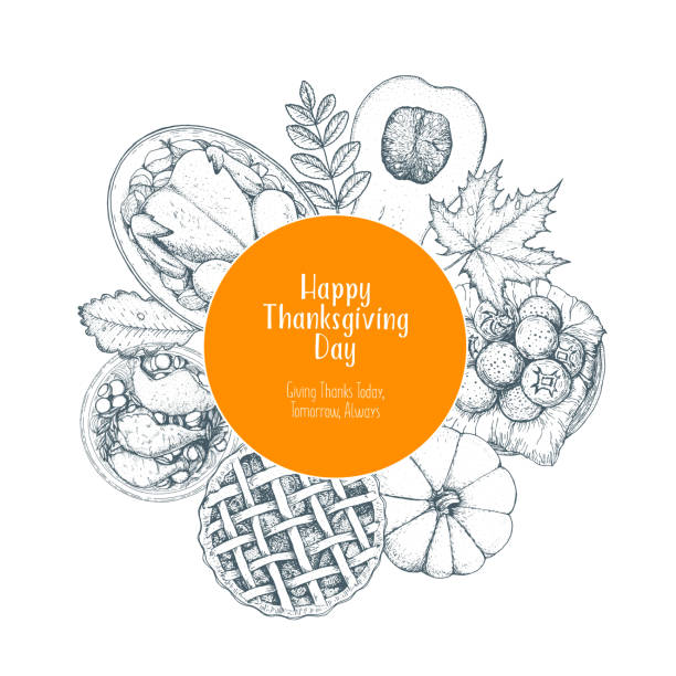thanksgiving day top view vector illustration. food label hand drawn sketch. festive dinner with turkey and potato. autumn food sketch. engraved image. - pumpkin pie stock illustrations