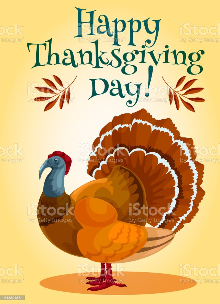 Thanksgiving Day turkey greeting card design vector art illustration