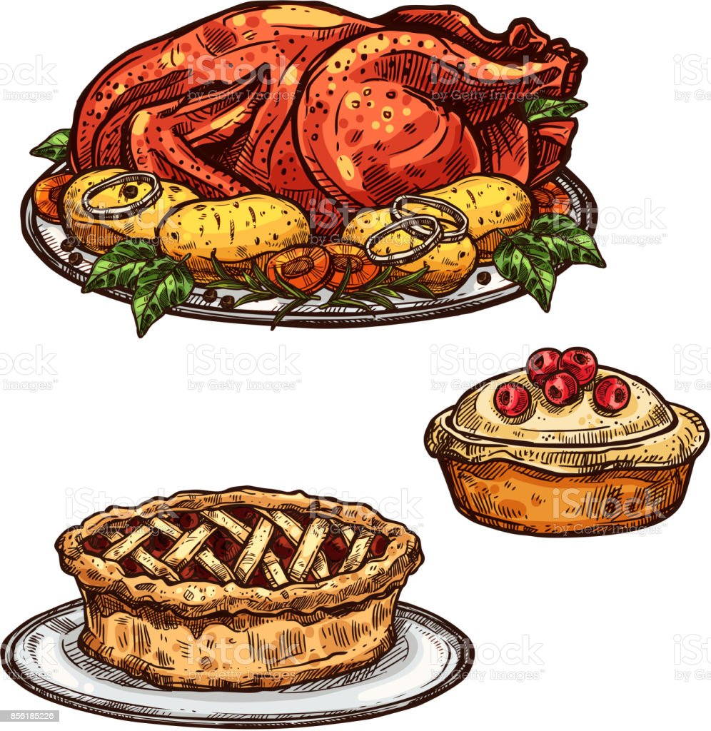 Thanksgiving Day Turkey Pie Dinner Sketch Food Stock