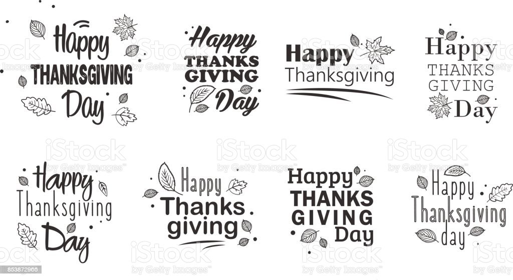 Thanksgiving day typography set.  Hand drawn Happy Thanksgiving Day Background. vector art illustration