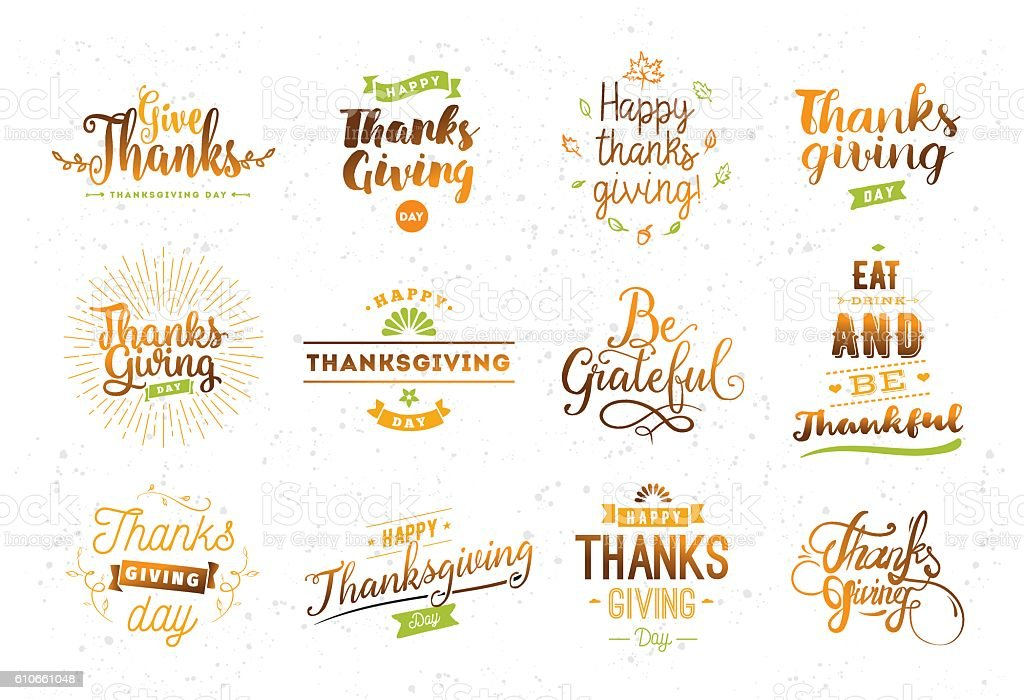Thanksgiving day typography set. vector art illustration
