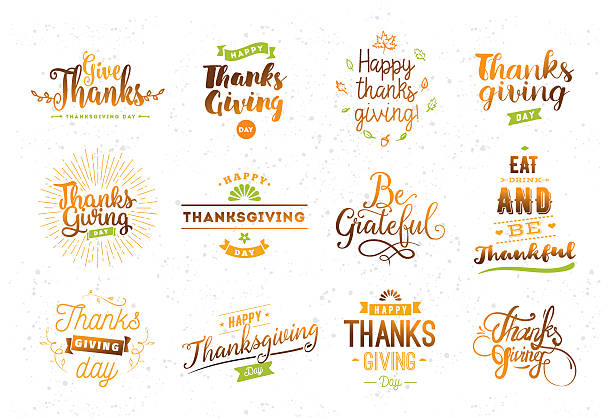 thanksgiving day typography set. - vielen dank stock-grafiken, -clipart, -cartoons und -symbole