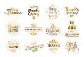Thanksgiving day typography set.