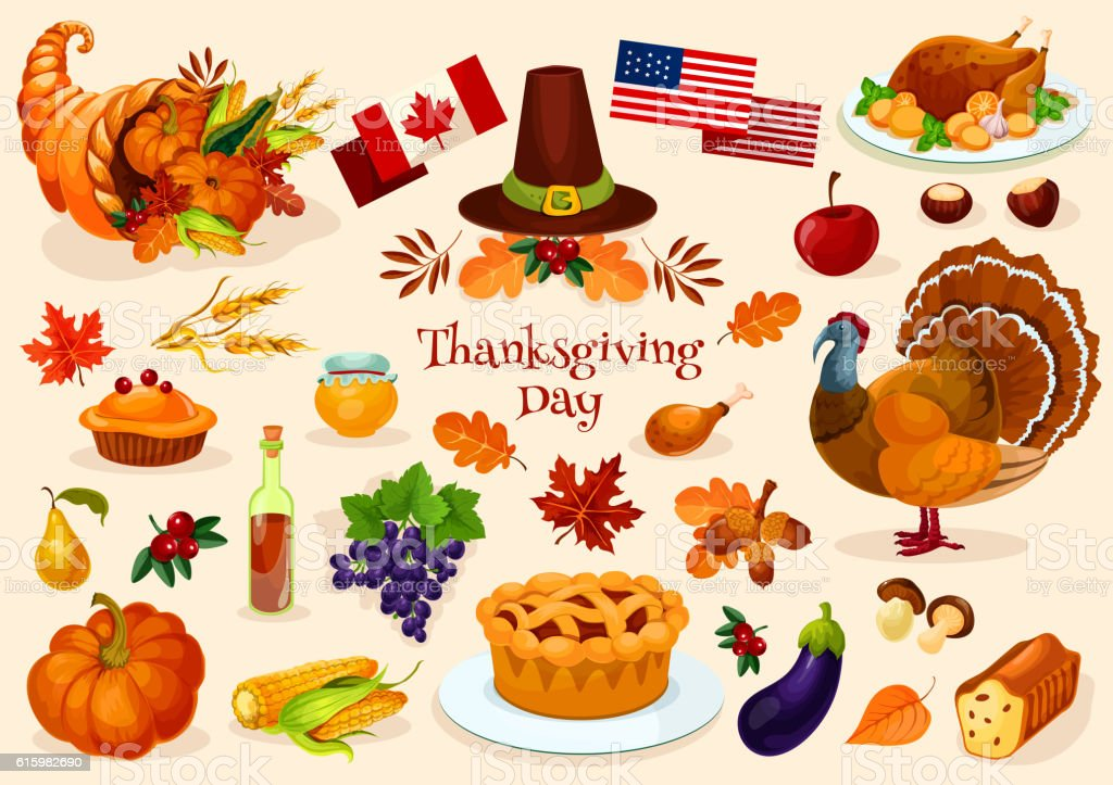 Ilustraci n de thanksgiving day vector isolated icons y for Immagini vector