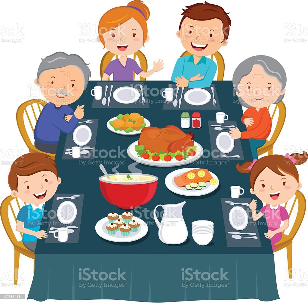 Thanksgiving dinner. Family dinner vector art illustration