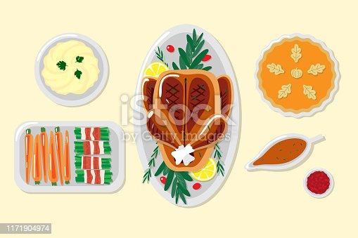 Thanksgiving dinner illustrations. Set of illustrated Thanksgiving dishes.