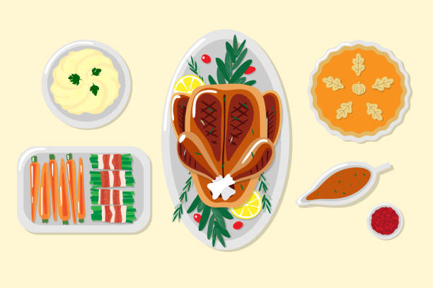 Thanksgiving dinner illustrations vector art illustration