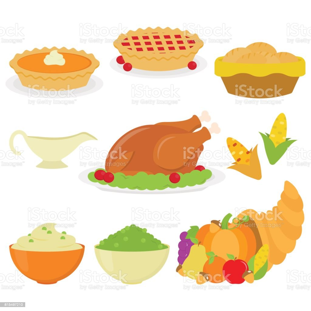 Thanksgiving Dinner In White Background vector art illustration