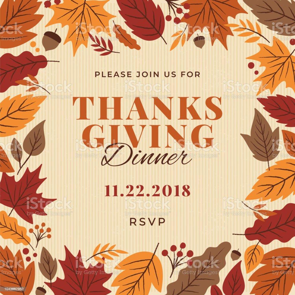 thanksgiving dinner invitation template stock vector art more