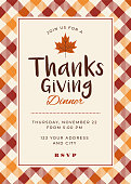Thanksgiving Dinner Invitation Template - Illustration