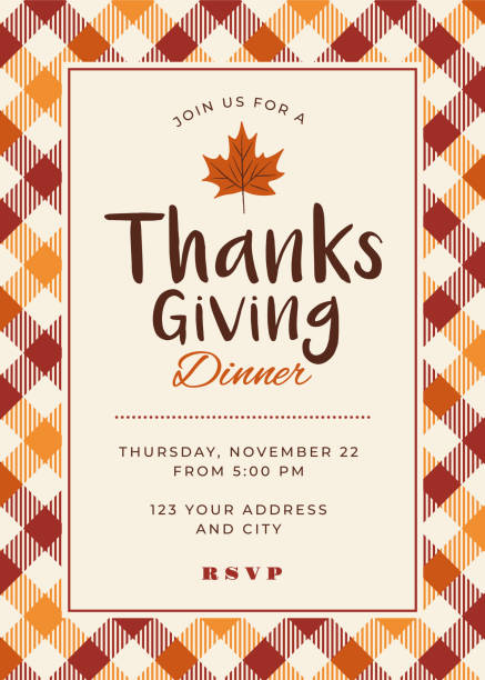 thanksgiving dinner invitation template - thanksgiving stock illustrations