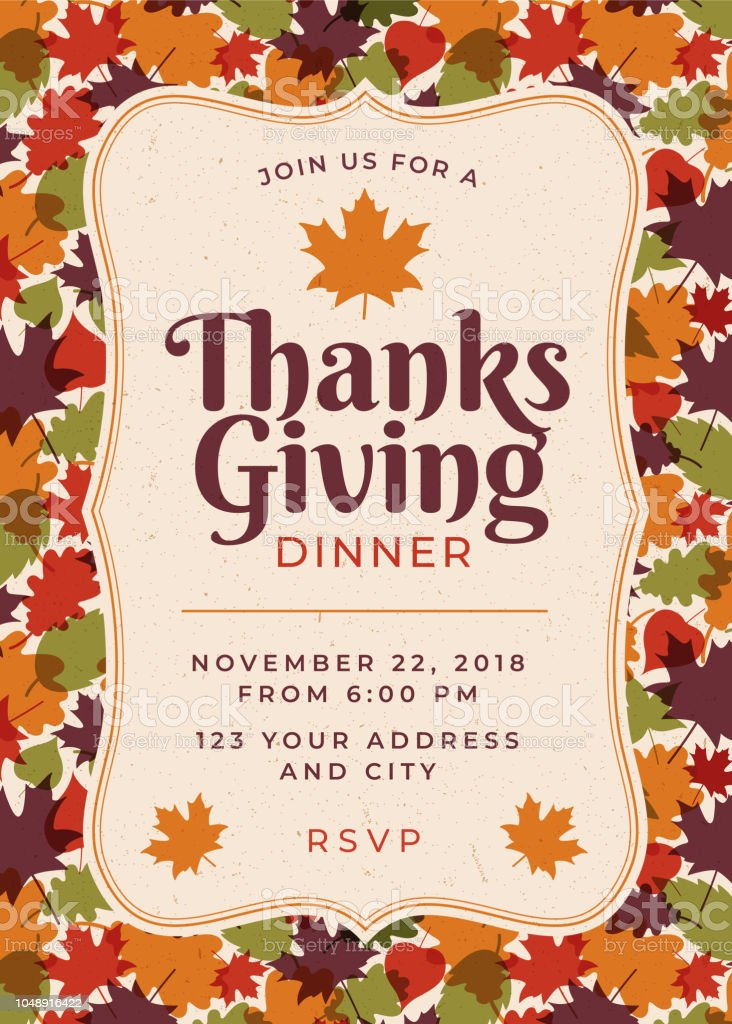 Thanksgiving Dinner Invitation Template Stock Vector Art More