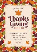 Thanksgiving Dinner Invitation Template. - Illustration