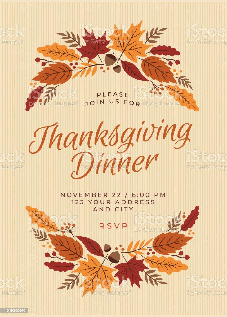 Thanksgiving Dinner Invitation Template vector art illustration