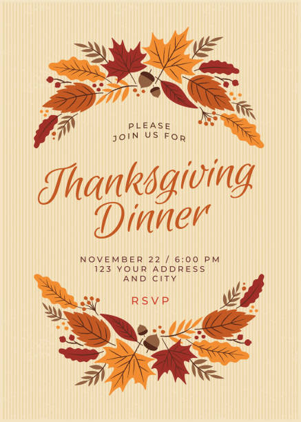 thanksgiving dinner invitation template - autumn stock illustrations