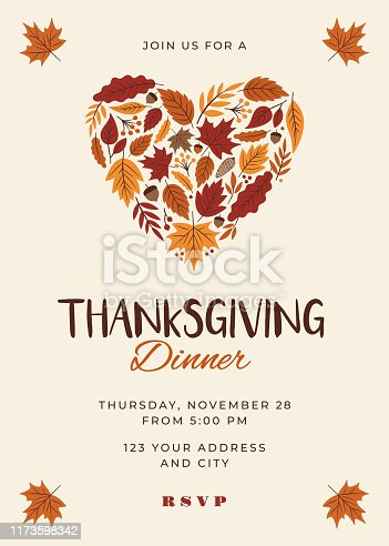Thanksgiving Dinner Invitation Template. Stock illustration