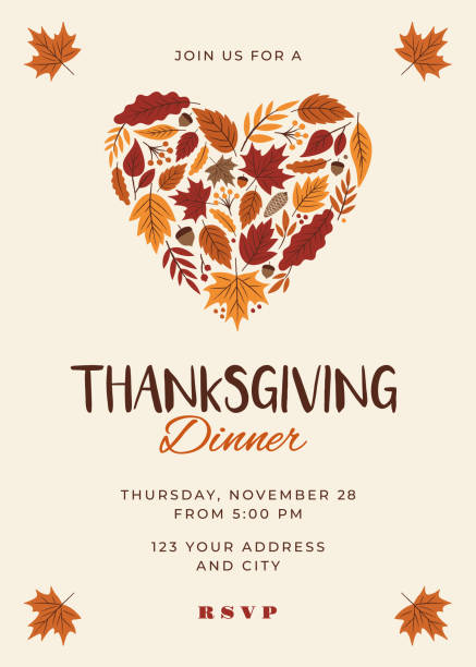 thanksgiving dinner invitation template. - thanksgiving stock illustrations