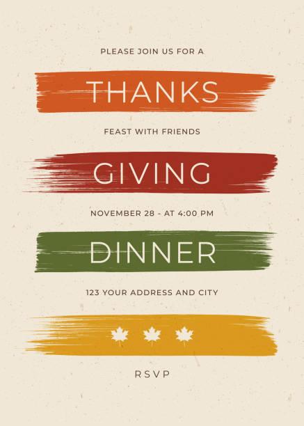 ilustrações, clipart, desenhos animados e ícones de molde do convite do jantar da acção de graças. - font