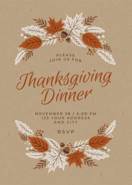 Thanksgiving Dinner Invitation Template. Thanksgiving Dinner Invitation Template. Stock illustration autumn drawings stock illustrations