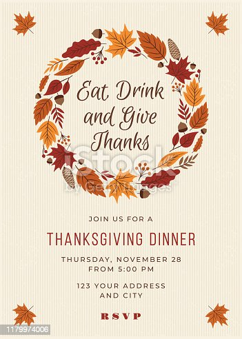 Thanksgiving Dinner Invitation Template. Stock illustration