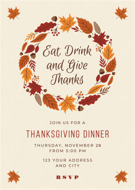 thanksgiving dinner invitation template. - thanksgiving turkey stock illustrations