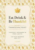 Thanksgiving Dinner Invitation Template with golden leaves. Stock illustration
