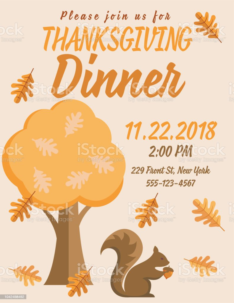thanksgiving dinner invitation with cute autumn elements stock