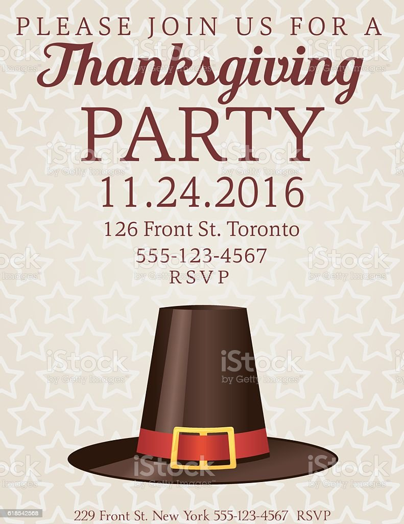 Thanksgiving Dinner Party Invitation Stock Vector Art & More ...
