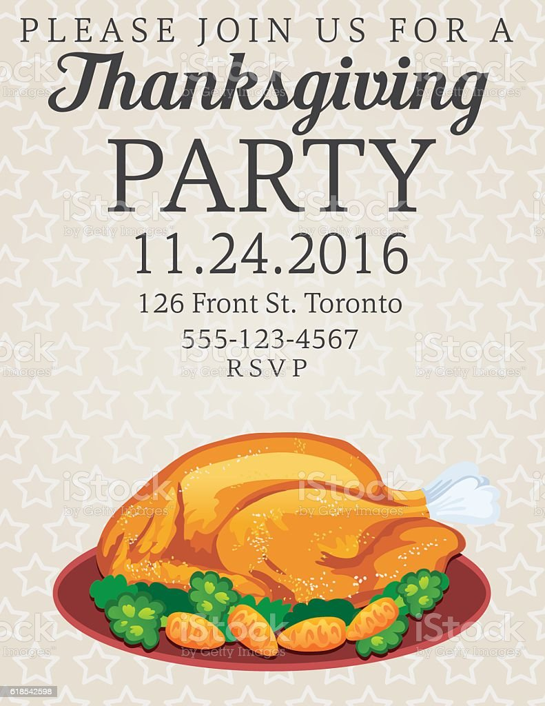 Thanksgiving Dinner Party Invitation Stock Vector Art & More Images ...
